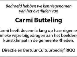 Afbeelding behorende bij Carmi Butteling overleden |