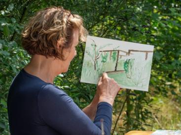"""Afbeelding behorende bij Kijken en Creëren in de natuur   Buiten schilderen in het openluchttheater """"De Pinkenberg"""""""